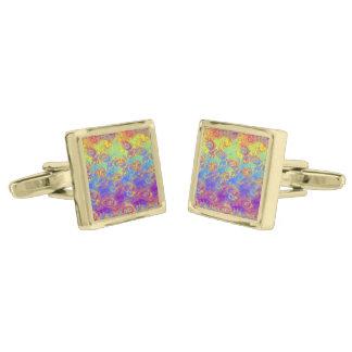 Bright Swirl Fractal Patterns Rainbow Psychedelic Cufflinks