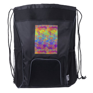 Bright Swirl Fractal Patterns Rainbow Psychedelic Drawstring Backpack