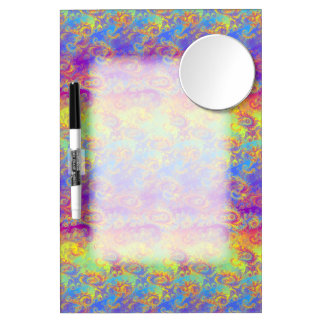 Bright Swirl Fractal Patterns Rainbow Psychedelic Dry Erase Board With Mirror