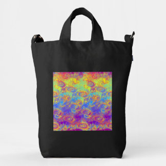 Bright Swirl Fractal Patterns Rainbow Psychedelic Duck Canvas Bag