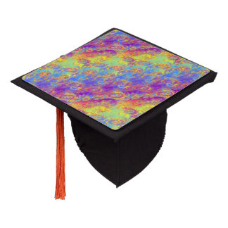Bright Swirl Fractal Patterns Rainbow Psychedelic Graduation Cap Topper