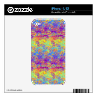 Bright Swirl Fractal Patterns Rainbow Psychedelic iPhone 4 Skin