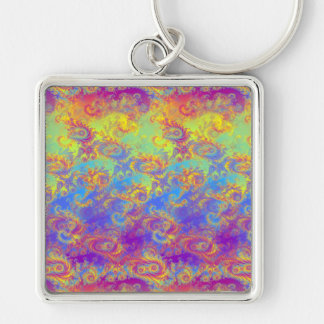 Bright Swirl Fractal Patterns Rainbow Psychedelic Keychain