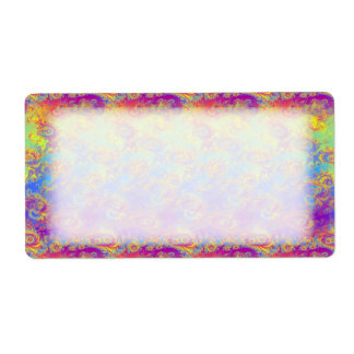 Bright Swirl Fractal Patterns Rainbow Psychedelic Label