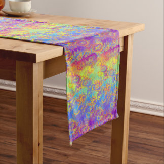 Bright Swirl Fractal Patterns Rainbow Psychedelic Long Table Runner