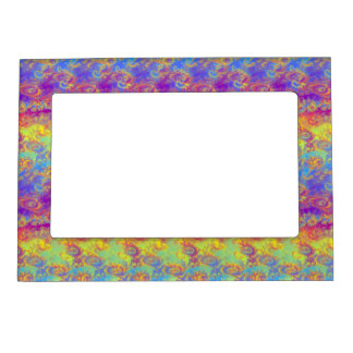 Bright Swirl Fractal Patterns Rainbow Psychedelic Magnetic Frame