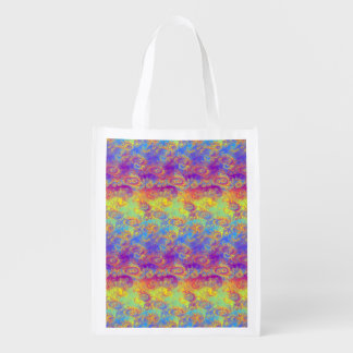 Bright Swirl Fractal Patterns Rainbow Psychedelic Market Tote
