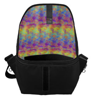 Bright Swirl Fractal Patterns Rainbow Psychedelic Messenger Bag
