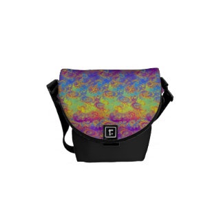 Bright Swirl Fractal Patterns Rainbow Psychedelic Messenger Bags