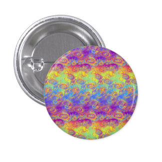 Bright Swirl Fractal Patterns Rainbow Psychedelic Pinback Button