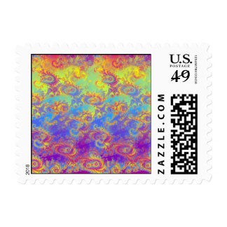 Bright Swirl Fractal Patterns Rainbow Psychedelic Postage