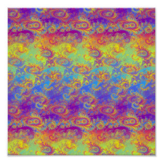 Bright Swirl Fractal Patterns Rainbow Psychedelic Poster