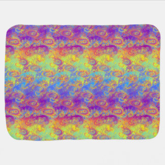Bright Swirl Fractal Patterns Rainbow Psychedelic Receiving Blanket