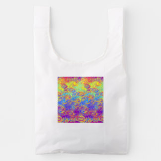 Bright Swirl Fractal Patterns Rainbow Psychedelic Reusable Bag