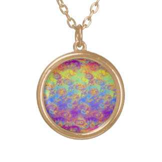 Bright Swirl Fractal Patterns Rainbow Psychedelic Round Pendant Necklace