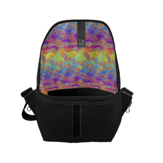 Bright Swirl Fractal Patterns Rainbow Psychedelic Small Messenger Bag