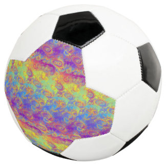 Bright Swirl Fractal Patterns Rainbow Psychedelic Soccer Ball