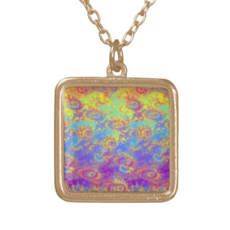 Bright Swirl Fractal Patterns Rainbow Psychedelic Square Pendant Necklace