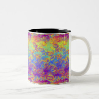 Bright Swirl Fractal Patterns Rainbow Psychedelic Two-Tone Coffee Mug