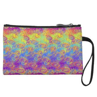 Bright Swirl Fractal Patterns Rainbow Psychedelic Wristlet Clutch