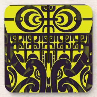 Bright symmetrical tribal Marquesas tattoo design Coaster