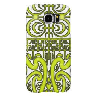 Bright symmetrical tribal Marquesas tattoo design Samsung Galaxy S6 Case