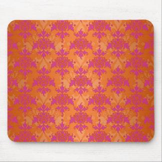 Bright Tangerine Tango Damask Orange Pink Mouse Pad