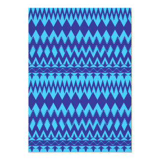 Bright Teal and Navy Blue Tribal Pattern 5x7 Paper Invitation Card
