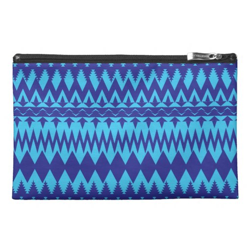 Bright Teal and Navy Blue Tribal Pattern Travel Accessory Bags