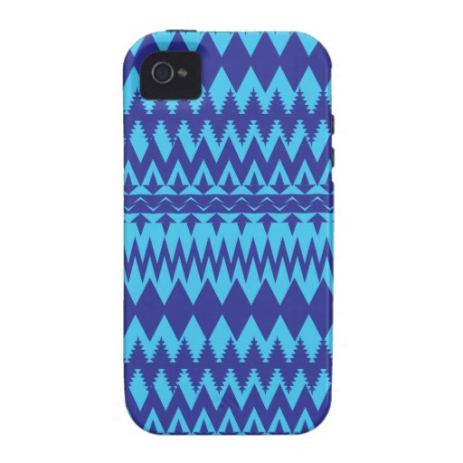 Bright Teal and Navy Blue Tribal Pattern Vibe iPhone 4 Cover