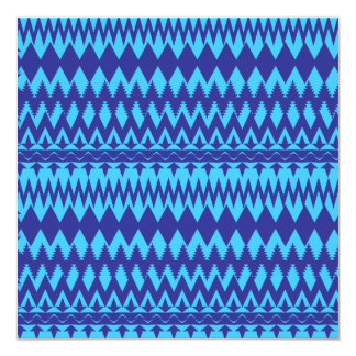 Bright Teal and Navy Blue Tribal Pattern Invitation