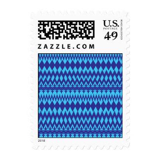 Bright Teal and Navy Blue Tribal Pattern Stamp