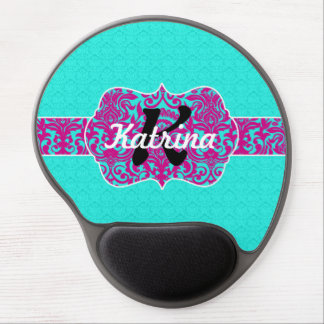 Bright Teal and Pink Filigreen Monogram on Damask Gel Mouse Mats