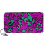 Bright teal and Pink Floral print Portable Speakers