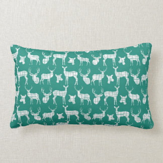 Bright Teal and White Deer Throw Pillow