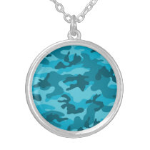 Bright Teal, Aqua Color Camo, Camouflage Silver Plated Necklace
