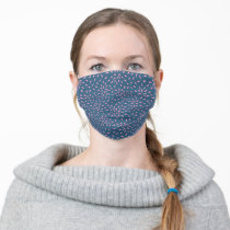Bright Teal Blue and White Floral Pattern Adult Cloth Face Mask