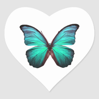 Bright Teal Butterfly Heart Sticker