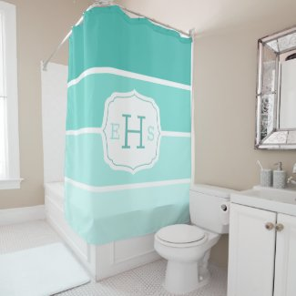 Bright Teal Gradient Paint Swatch Monogrammed Shower Curtain