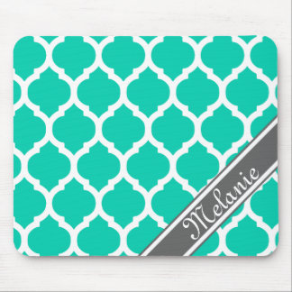 Bright Teal & Gray Lattice Custom Name Mouse Pad
