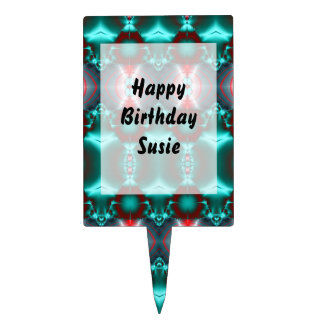 Bright teal red pattern design cake topper