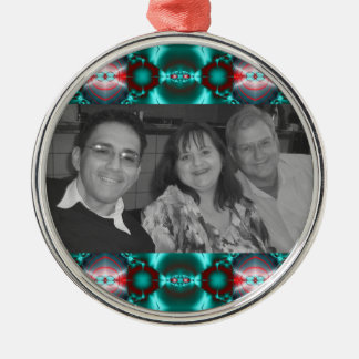 Bright teal red pattern design metal ornament