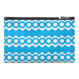Bright Teal Turquoise Blue Waves Circles Pattern Travel Accessory Bag