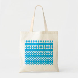 Bright Teal Turquoise Blue Waves Circles Pattern Tote Bags