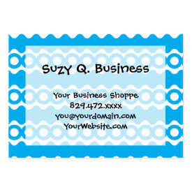 Bright Teal Turquoise Blue Waves Circles Pattern Business Card