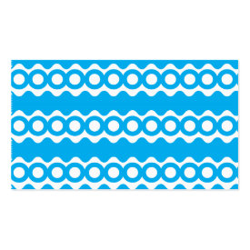Bright Teal Turquoise Blue Waves Circles Pattern Business Card Templates