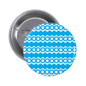 Bright Teal Turquoise Blue Waves Circles Pattern Pinback Button