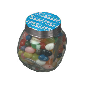 Bright Teal Turquoise Blue Waves Circles Pattern Glass Candy Jar