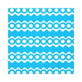 Bright Teal Turquoise Blue Waves Circles Pattern Stretched Canvas Print