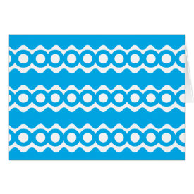 Bright Teal Turquoise Blue Waves Circles Pattern Cards